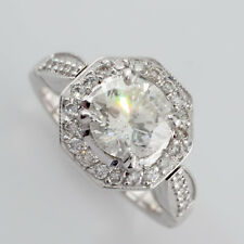 18K WG 1.25ct Round Brilliant w/ Halo Diamond Engagement Ring Size 5 GIA Cert