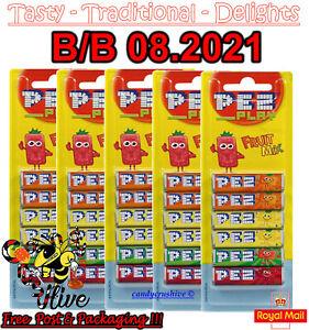 30 PACK PEZ REFILS (5 X 6 PACK) FRUIT FLAVOUR SWEETS FOR PEZ DISPENSER 08.2021