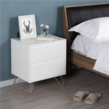 More details for bedside table with 2 drawers & metal legs storage end table for bedroom white