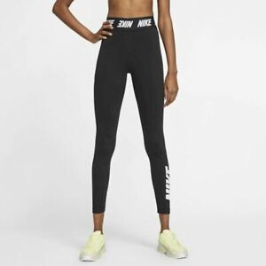 Nike Sportswear Club High Rise Leggings Size Medium 12-14 Black Logo Waistband