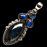 "Labradorite 925 Sterling Silver Pendant 2"" Ana Co Jewelry P723805F"
