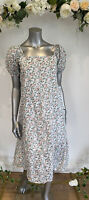 Influence Dress Size 8 10 12 Smock Dress White Pretty Pink Floral Midi New GZ80