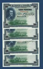 CUATRO BILLETES CORRELATIVOS 100 PESETAS. 1925. EBC+. MANCHITAS LADO SUPERIOR