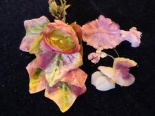 """Vintage Millinery Flower Collection 1-2"""" Pink Purple w/Velvet leaf German H2045"""