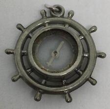 Vintage Compass Silver Tone Ships Wheel Pocket Watch FOB (V105)