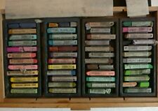 ARTIST SOFT PASTELS X 120 PLUS IN THREE DRAW WOODEN BOX - USED