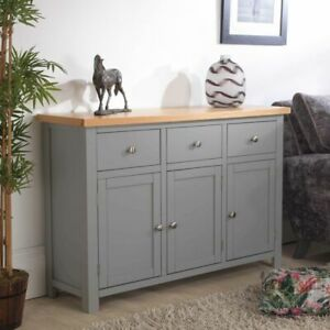 Richmond large sideboard grey painted furniture with solid oak top