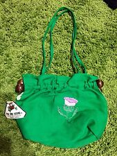 Vintage 1970S Deadstock Green Fabric Purse With Tags Wooden Hippie