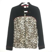 Zenergy By Chico's Size 2 Large Jacket Cheetah Print Zip-Up Black Long Sleeves