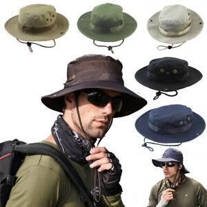 Outdoor Mens Women Sun Hat Bucket Cargo Safari Bush Boonie Fishing Cap wide brim