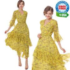 USA Women Summer Dresses Yellow Floral Party Maxi Dress OL Chiffon Beach Casual