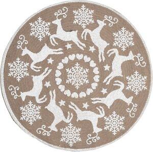Christmas Decoration Rug - Indoor Round Floor Woven Reindeer Snowflake Design