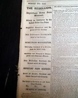 FIRST BATTLE OF LEXINGTON Missouri State Guard S. Price 1861 Civil War Newspaper