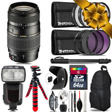 Tamron 70-300mm Lens for Canon + Professional Flash & More - 64GB Accessory Kit