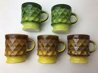 5 Fire King Kimberly Quilted Diamond Coffee Cup Mugs Mid Cent Green Brown Yellow