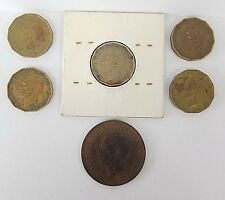 UNITED KINGDOM / GREAT BRITAIN 6 COIN LOT, 5 THREE PENCE COINS, ONE 1938 PENNY Z