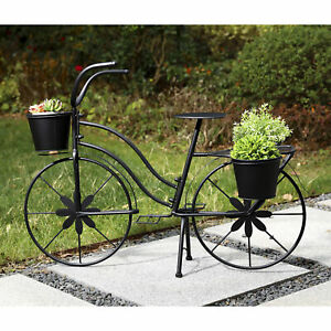 """Glitzhome 36.5""""L Oversized Metal Black Bicycle Plant Stand Garden Flower Holder"""
