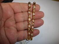 Lot of 2 Unused Old Stock Vintage 80s Gold & Crystal Rhinestone BRACELETS mint