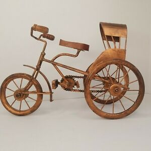 Metal Tricycle Sculpture Decor Wood Seat & Handle Grips Pedals Work Distressed