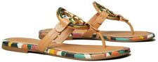 NIB Tory Burch Miller Enamel-Logo Sandals Aged Vachetta 6 M and 5 M