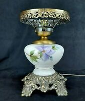 Vintage GWTW Hurricane Table Lamp Base Only White Glass Purple Floral Metal 3Way