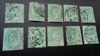 Indien, Stamps, Briefmarken, 1902, Michel-Nr: 56, 1/2A, ag = 10 Werte Konvolut