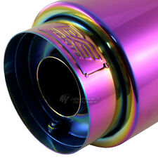 """DC CHAMELEON ANODIZED ROUND MUFFLER W/ TIP 4"""" Outlet w/ 2.25"""" In. HONDA MAZDA"""