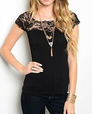 Black or Cream Lace Yoke Cap Sleeve Sweetheart Neckline TopBlouse S M L