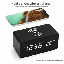Modern Wooden Digital LED Desk Alarm Clock Thermometer Qi Wireless Charger US