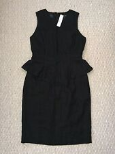 JCrew Linen Peplum Dress Black 4P petite $168 F3160 work office suiting New NWT