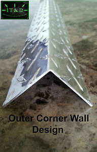".063 (1.5"" x 1.5"" x 48"") Aluminum Diamond Plate Tread Brite Corner Guard Angle"