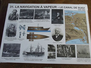 Affiche scolaire vintage rare le canal de suez navigation à vapeur le télégraphe