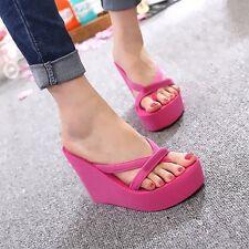 GW Summer Women Wedge Sandals Flip Flops Platform High Slippers Beach Shoes New
