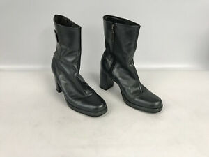 ENZO ANGIOLINI Black Leather ANKLE BOOTS Size 7 1/2 with side zipper