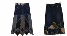 Women's Denim Jeans Skirt A-Line Ladies Applique Skirt Casual French style Skirt