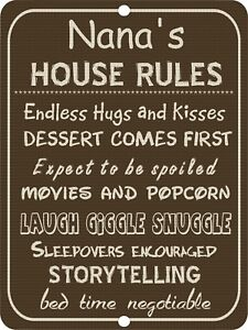 NANA'S House Rules Grandmother Gran Maw Maw Funny Vintage Retro Metal Sign 9x12