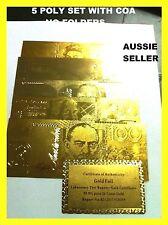 BANK NOTE AUSTRALIA 5 BANK NOTE 24KT GOLD POLYMER DOLLAR BANKNOTE NO FOLDERS