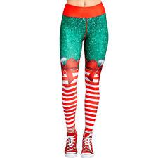Christmas Xmas Womens Yoga Gym Sport Leggings Run Fitness Pants Workout Trousers