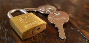Vintage RUGER Brass Padlock with 2 keys.  Mini Gun or Luggage Lock.   Free Ship