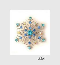 Brosche Anstecker Anstecknadel Schneeflocke Winter Strass blau weiss silber SB4