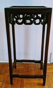 """Handmade Mahogany Rosewood  Chinese accent table openwork carvings 20"""" tall"""