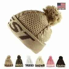 Free Style Snow Pom Pom Knit Warm Fall Winter Ski Beanie Hat Morehats Women Men