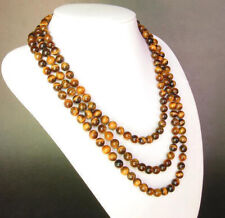 8/10/12mm African Yellow Tiger's Eye gemstone round beads necklace 18/36/100''