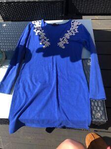 Blue And White Lace Motel Rocks Plunge Mini Dress Long Sleeve Size L 8 10