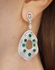 10.98 ct Pave Diamond and Emerald Drop Earrings in 18k White Gold - HM1740EE