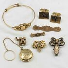 Lot+Of+Antique+Vtg+Gold+Filled+Jewelry+Pins+Bracelet+43+Grams+Wearable+Not+Scrap