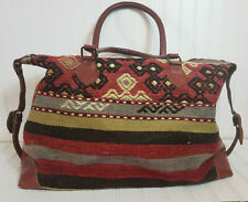 VTG Turkish Kilim Rug Carpet Leather Suitcase Luggage Wool Shoulder Bag Woven