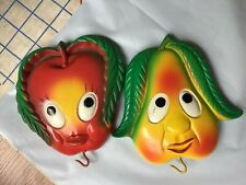 Vintage Chalkware Wall Plaques Miller Studio Apple Pear Kitchen Fruit 1970 hooks