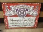 Vintage Budweiser Lager Beer Tin Metal Sign Anheuser Busch Old Logo Genuine Bar