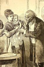 Eytinge DOCTOR VACCINATES BABY Medical Needle 1870 Pediatrician Art Print Matted